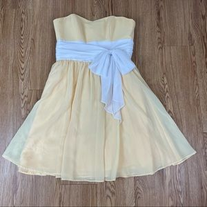 Alfred Angelo Yellow Strapless Bridesmaid Dress